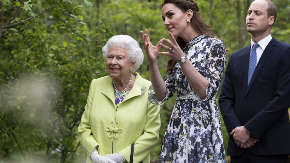Queen Elizabeth II is shwon around 'Back to Nature' by Prince William and Catherine, Duchess of Cambridge at the RHS Chelsea Flower Show 2019 press day at Chelsea Flower Show on May 20, 2019 in London, England.