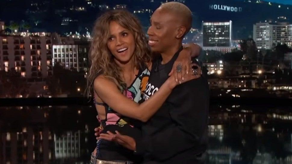 Halle Berry Plants a Big Kiss on Lena Waithe During 'Jimmy Kimmel Live' Monologue