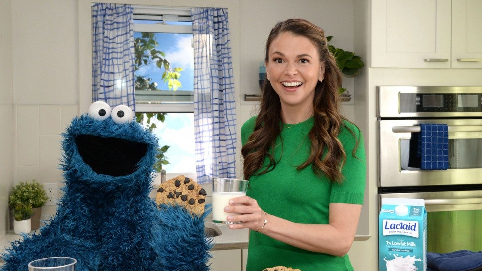 Sutton Foster with cookie monster