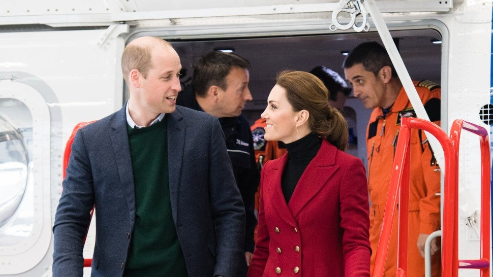 Prince William, Duke of Cambridge and Catherine, Duchess of Cambridge visit Caernarfon Coastguard Search and Rescue Helicopter Base during a visit to North Wales on May 08, 2019 in Various Cities, United Kingdom.