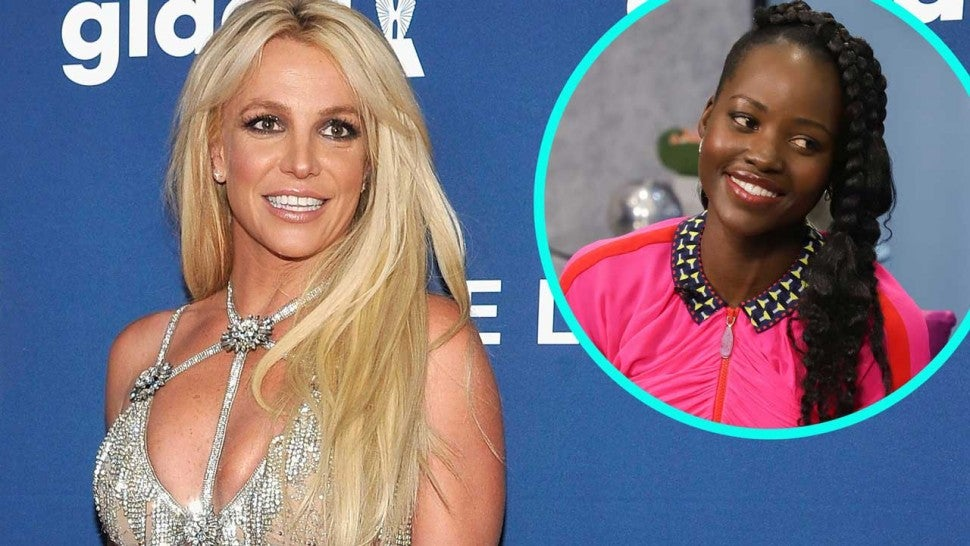 Britney Spears with Lupita Nyong'o (inset)
