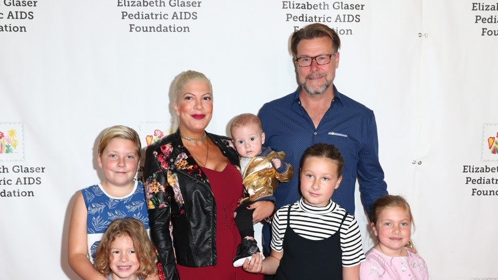 Tori Spelling, Dean McDermott and family at The Elizabeth Glaser Pediatric AIDS Foundation's 28th annual 'A Time For Heroes' family festival at Smashbox Studios on October 29, 2017 in Culver City, California.