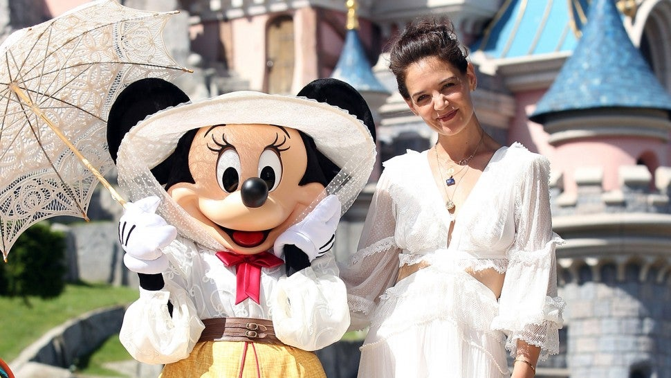 Minnie Mouse and Katie holmes at disneyland paris