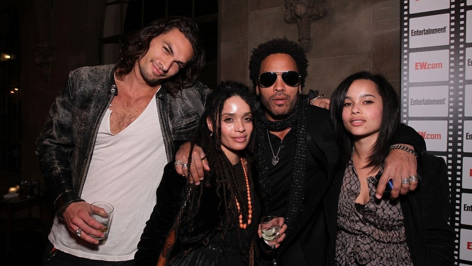How Zoe Kravitz S Dad Lenny And Stepdad Jason Momoa Bonded At Her Wedding Exclusive Entertainment Tonight