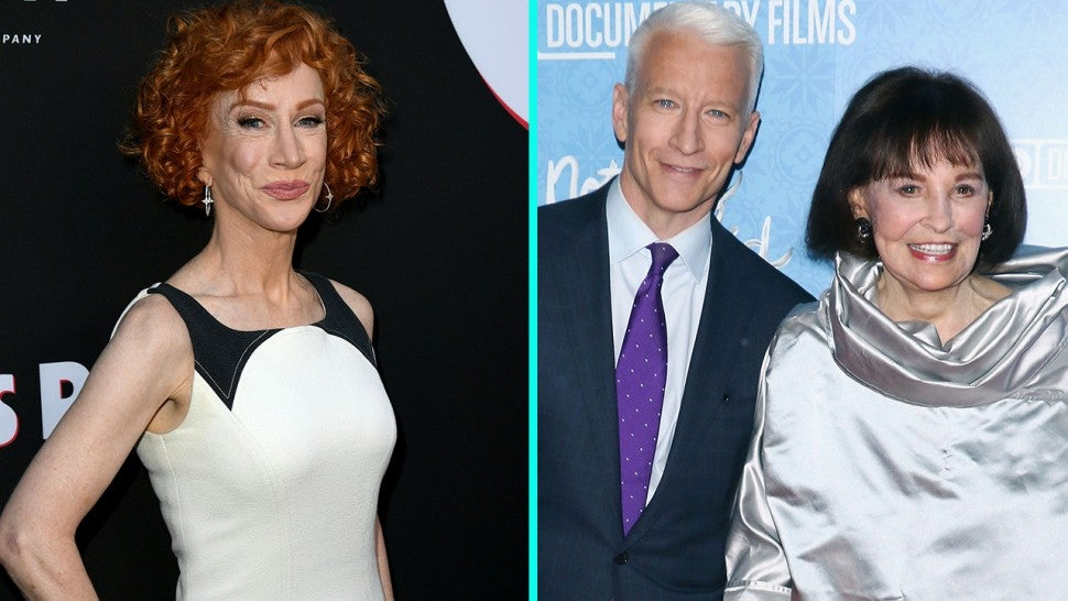Kathy Griffin and Anderson Cooper and mom Gloria Vanderbilt