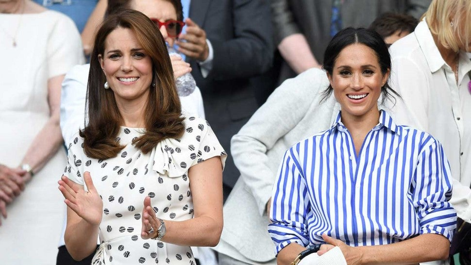 Meghan Markle and Kate Middleton arrive at Wimbledon to watch ladies final