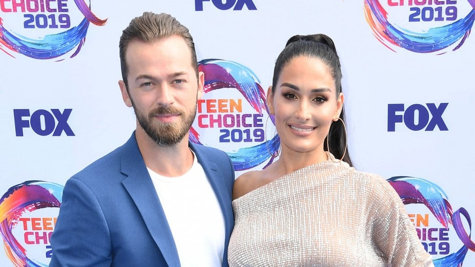 Artem Chigvintsev and Nikki Bella at Teen Choice Awards 2019