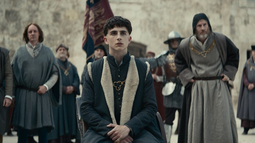 Timothée Chalamet feels the weight of the crown in 'The King' trailer