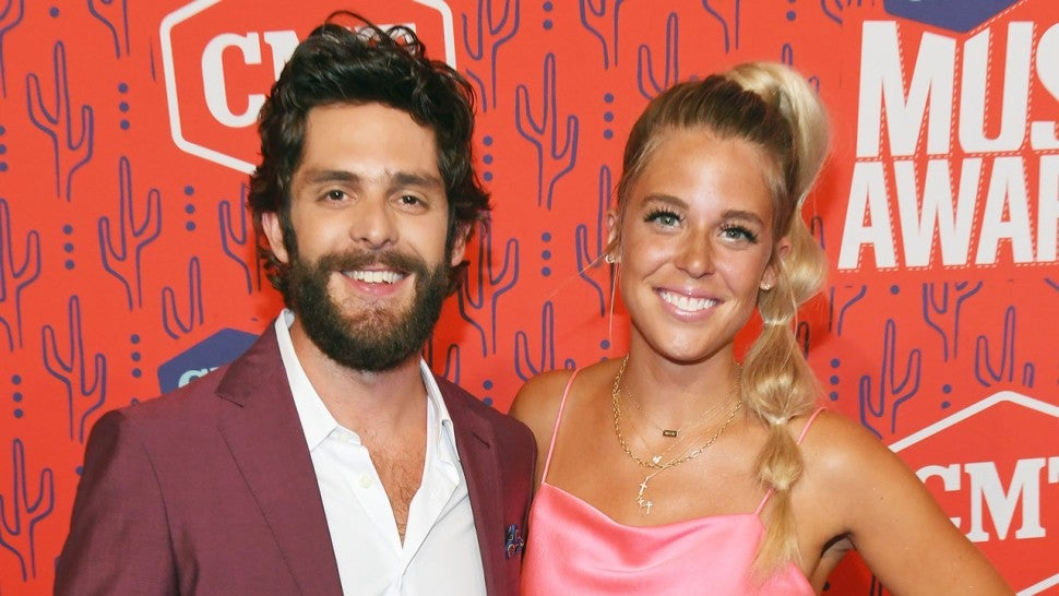 Lauren Akins and Thomas Rhett attend the 2019 CMT Music Awards