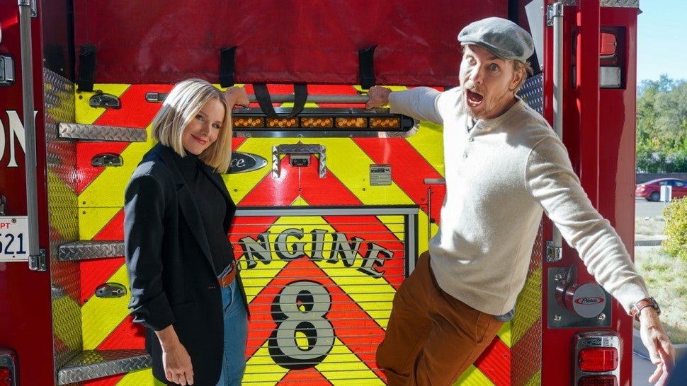 kristen and dax on fire truck