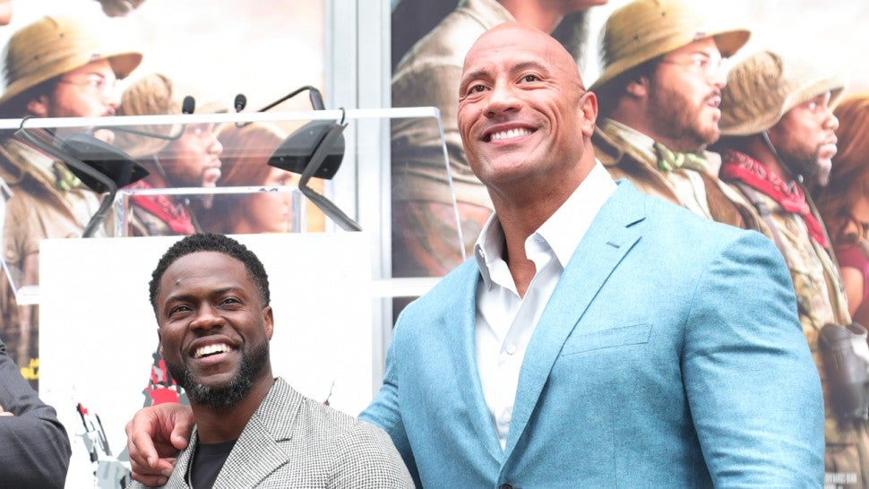 kevin hart and dwayne johnson at footprint ceremony