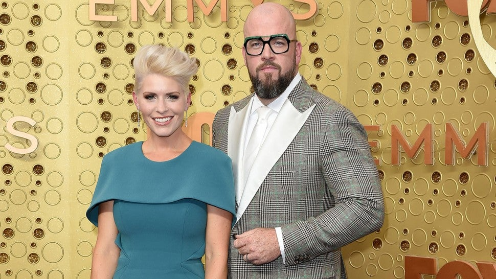 Rachel Reichard and Chris Sullivan attend the 71st Emmy Awards at Microsoft Theater on September 22, 2019 in Los Angeles, California.
