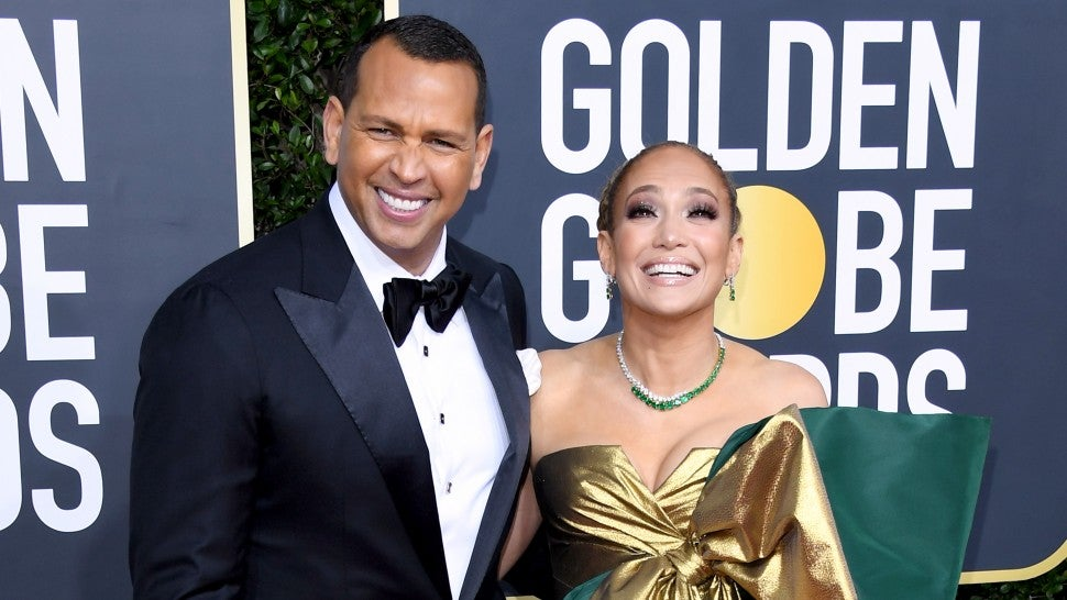Alex Rodriguez and Jennifer Lopez at the 77th Annual Golden Globe Awards