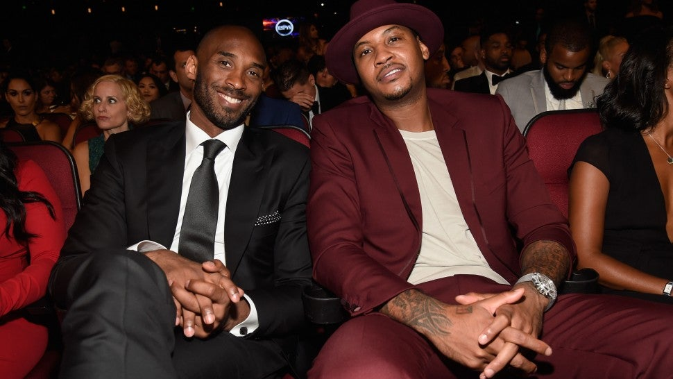 Kobe Bryant (L) and NBA player Carmelo Anthony attend the 2016 ESPYS at Microsoft Theater on July 13, 2016 in Los Angeles, California.