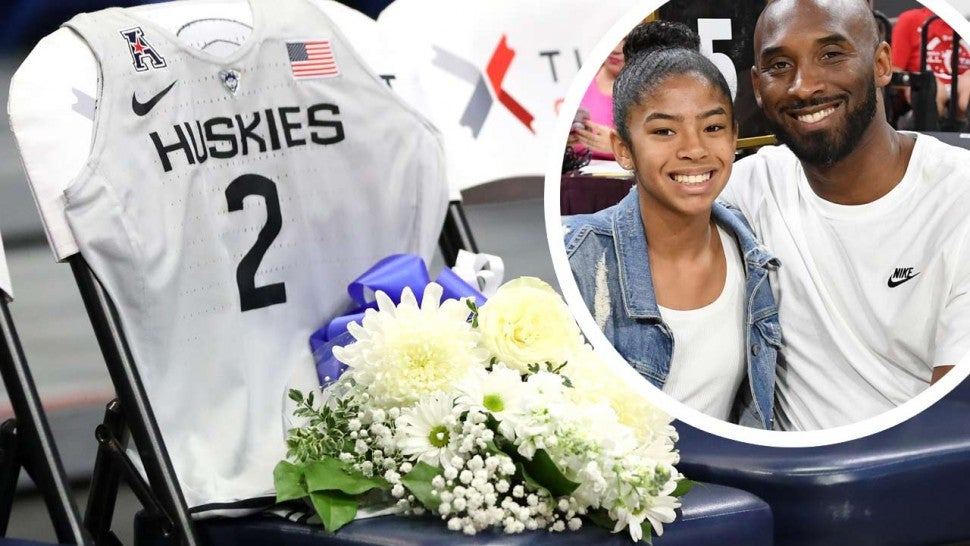The UConn Huskies' tribute to Gianna and Kobe Bryant (inset)