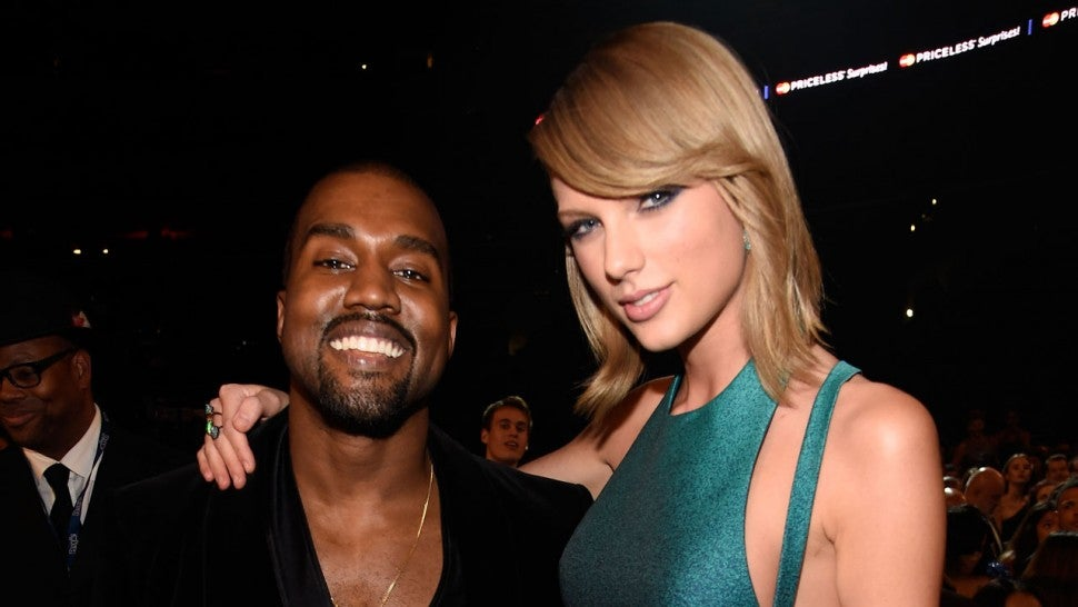 Kanye West and Taylor Swift at The 2015 GRAMMY Awards