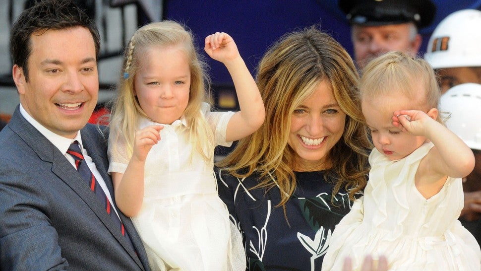 Jimmy Fallon, Nancy Juvonen and their daughters.