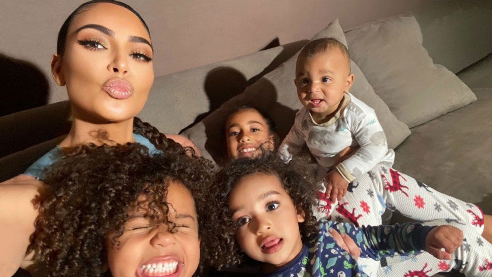 Kim Kardashian Poses With Her Four Kids In Quarantine For