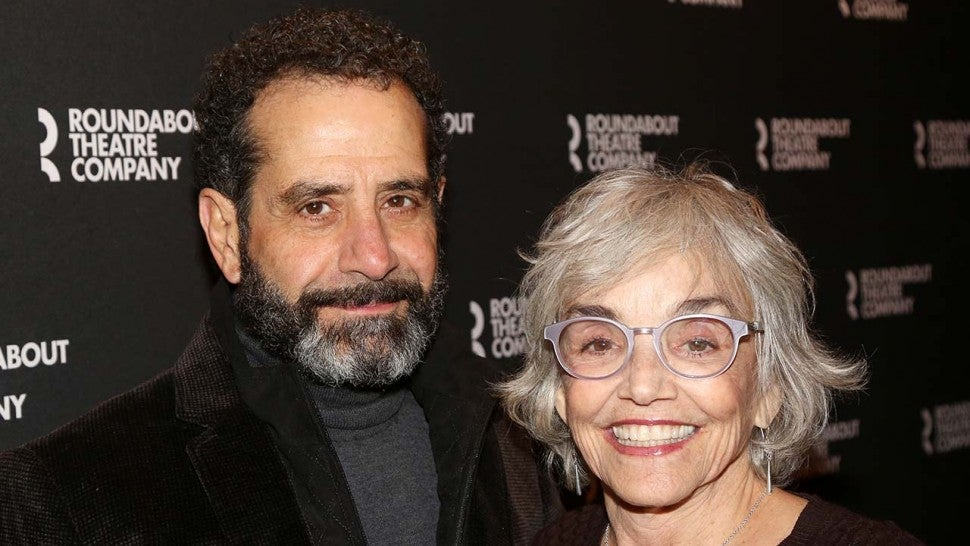 "Tony Shalhoub and wife Brooke Adams pose at the opening night of ""A Soldier's Play"" on Broadway at The American Airlines Theatre on January 21, 2020 in New York City."