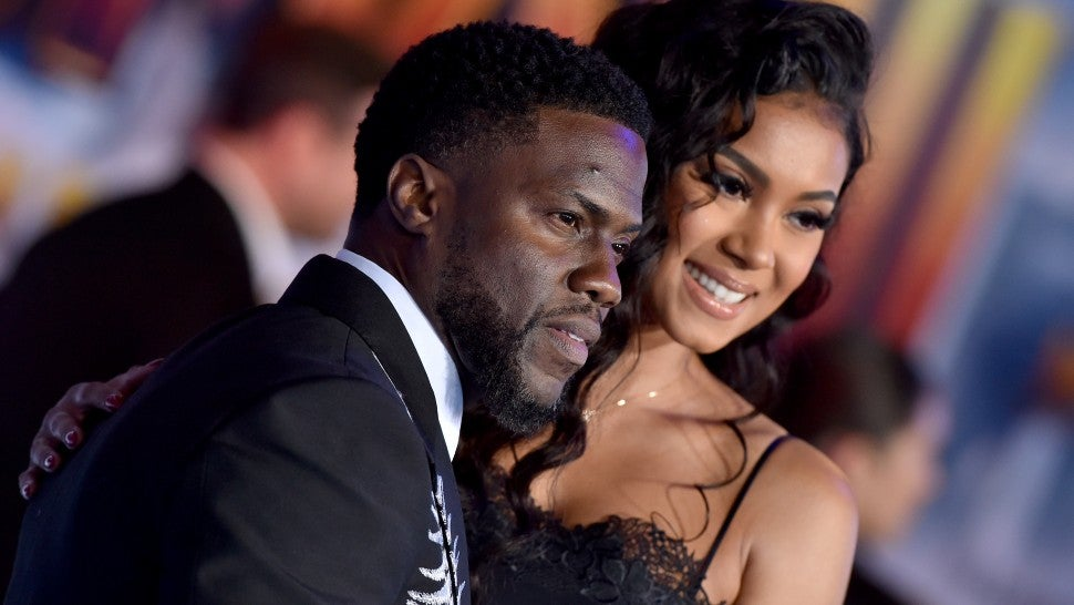 "Kevin Hart and Eniko Parrish attend the premiere of Sony Pictures' ""Jumanji: The Next Level"" on December 09, 2019 in Hollywood, California."
