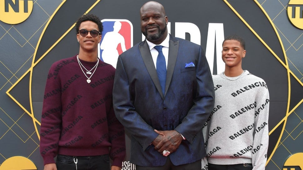 Shaquille O'Neal with his sons Shareef and Shaqir