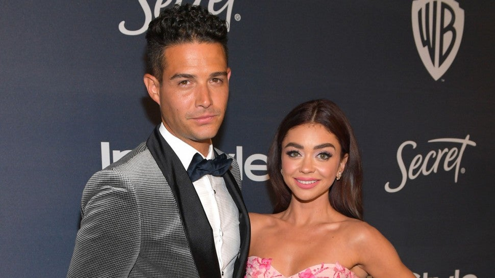 Wells Adams and Sarah Hyland at The 2020 InStyle And Warner Bros. 77th Annual Golden Globe Awards Post-Party