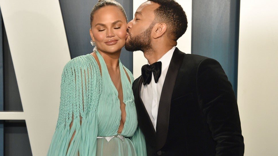 Chrissy Teigen and John Legend at the 2020 Vanity Fair Oscar Party