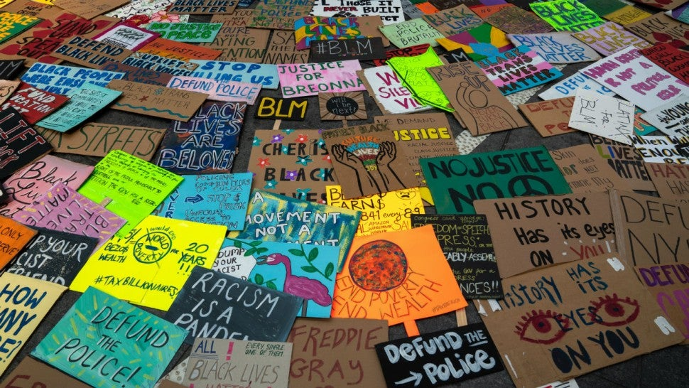 Black Lives Matter signs