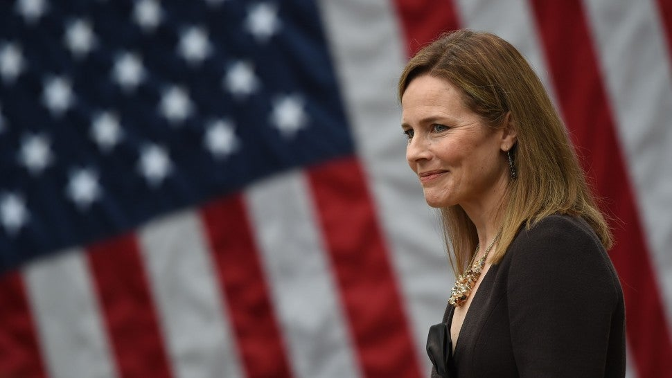 Judge Amy Coney Barrett is nominated to the US Supreme Court by President Donald Trump in the Rose Garden of the White House in Washington, DC on September 26, 2020.