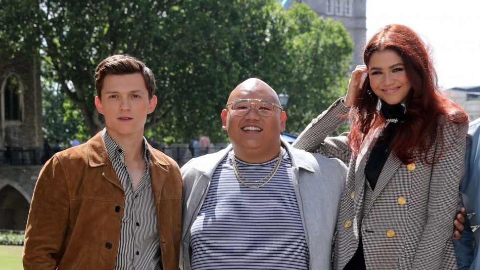 Tom Holland (L), Jacob Batalon (2L), Zendaya (C), Jake Gyllenhaal (2R) and director Jon Watts pose during a photocall for their latest film 'Spider-Man: Far From Home' at the Tower of London, backdropped by London's Tower Bridge, in London