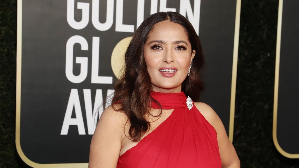 Salma Hayek Steps Out in Stunning Bright Red Gown at 2021 Golden Globe Awards.jpg