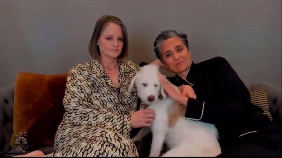 Jodie Foster Accepts Golden Globe Win in Chic Pajamas With Her Wife and Dog.jpg