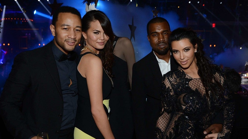 John Legend, Chrissy Teigen, Kanye West and Kim Kardashian celebrate New Year's Eve at 1 OAK Nightclub at The Mirage Hotel & Casino on December 31, 2012 in Las Vegas, Nevada.
