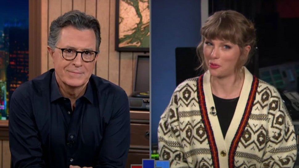Stephen Colbert and Taylor Swift on 'A Late Show.'