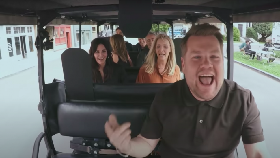 'Friends' Cast Sings the Theme Song With James Corden Before He 'Nearly Kills' Them in Funny Accident.jpg