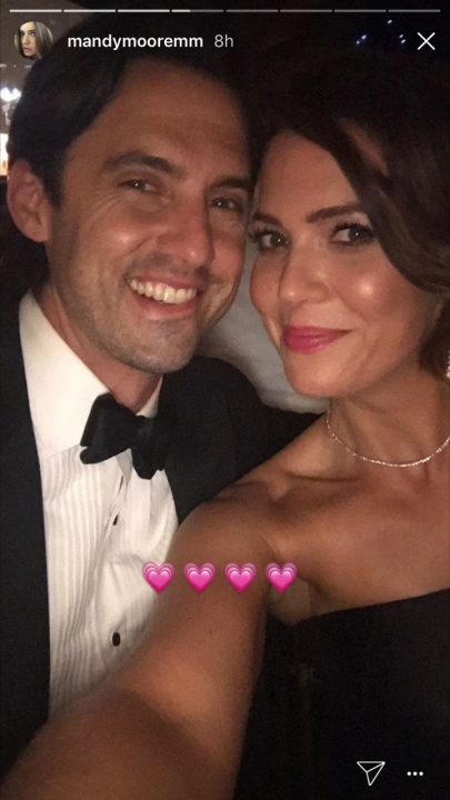 Milo Ventimiglia and Mandy Moore at 2017 Emmys