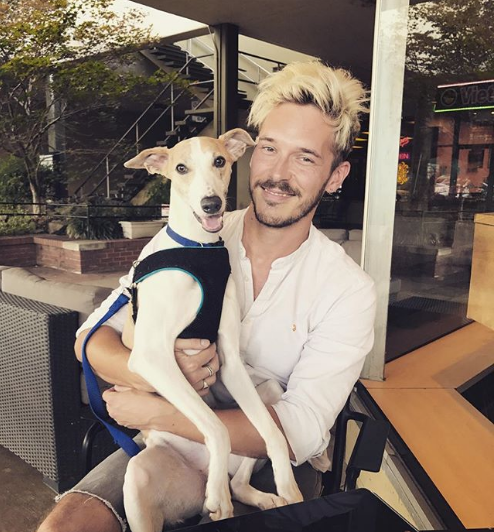 Sam Palladio and dog