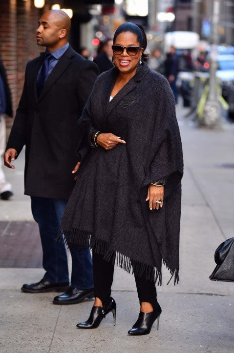 Oprah Winfrey outside the Ed Sullivan Theater in New York City on March 6