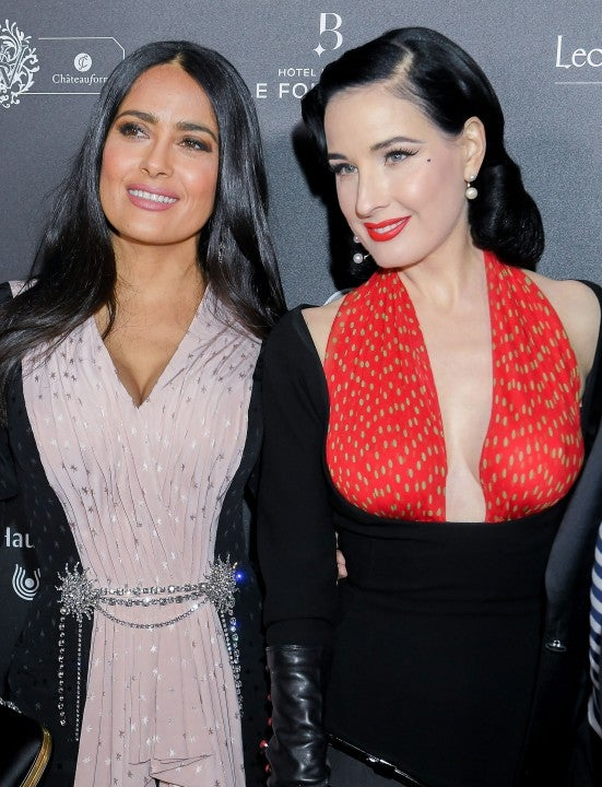 d874535aeda Salma Hayec and Dita von Teese at the 14th  Globe De Cristal  ceremony