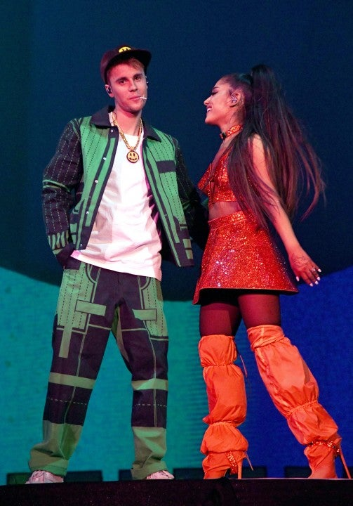 Justin Bieber and Ariana Grande perform at coachella weekend 2