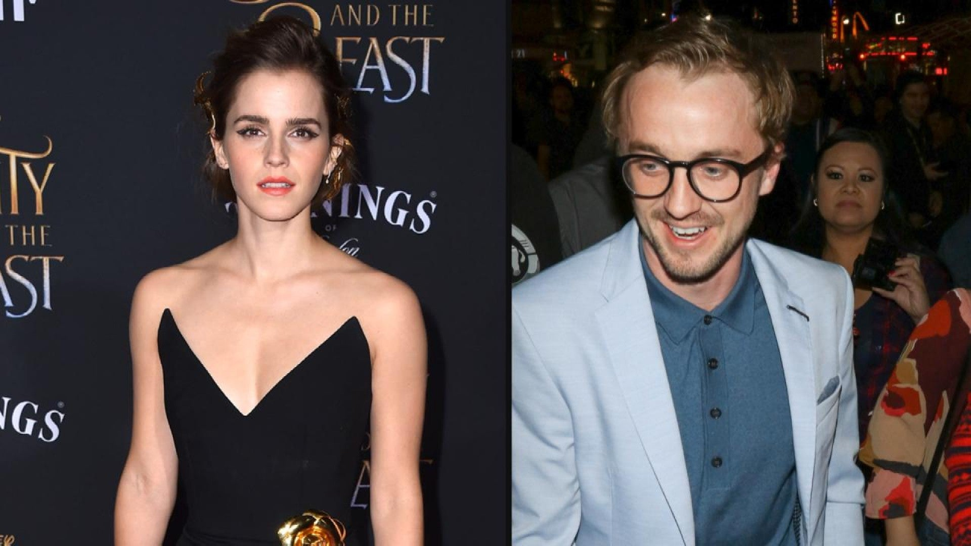 Exclusive Harry Potter S Matthew Lewis And Tom Felton Support Emma Watson At Beauty And The Beast Premiere Entertainment Tonight