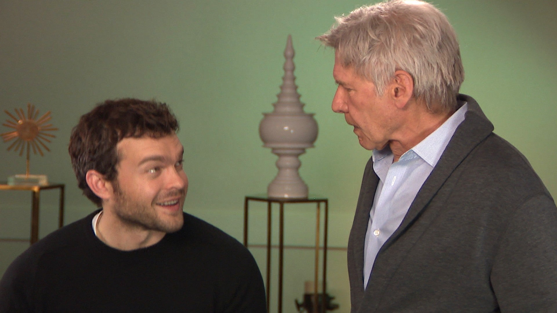 Harrison Ford Gives Alden Ehrenreich Spectacular Review After Epicly Surprising Young Han Solo Exclusive Entertainment Tonight